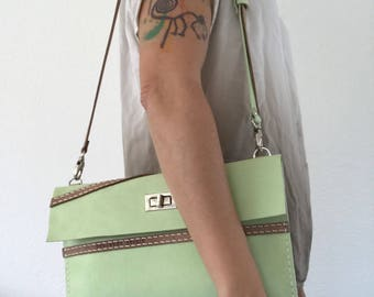 Light apple green and brown, hand stitched leather shoulder bag, crossbody bag, clutch, sling bag