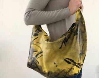 Soft yellow and black hand painted leather crossbody bag, shoulder bag, hobo bag