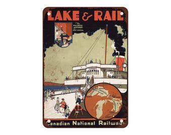 "1926 Canadian National Railway Lake & Rail - Vintage Look Reproduction 9"" X 12"" Metal Sign"