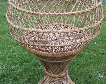 Vintage Rattan Wicker Plant Stand - 1960s - Very Good Condition