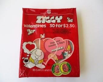 Vintage Ziggy Valentines 1983 American Greetings 30 Valentine Cards Cartoon Character NOS 1980s Comic Strip Valentine's Day