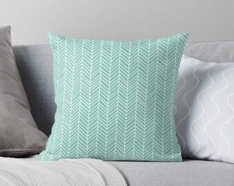 Turquoise Pillow | Turquoise Throw Pillow | Turquoise Cushion | Mint Green Pillow | Green Pillow Cover | Aqua Pillow | Herringbone Pillow
