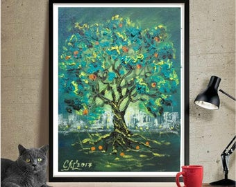 Tree of life wall decor for home decor wall art gift|for|her Small painting Tree wall art decoration Mini oil painting fantastic art canvas