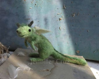 Dragon, needle felted dragon, baby dragon, fantasy sculpture, get well gift,strength present