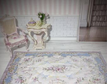 Dollhouse Miniature  Rug, 1:12, Aubusson, Beautiful French Style Rug in Soft Pastels