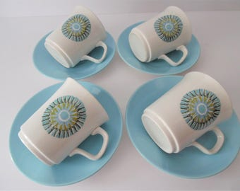 """Vintage J&G Meakin """"Aztec"""" Coffee cups and saucers. Studio pottery Coffee cups and saucers.1960s  Meakin"""