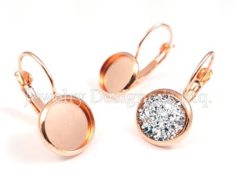 10pcs 10mm Bezel Rose Gold Cabochon Settings Drop Earrings Components Earring Blank Wholesale Jewelry Making Supplies Free Silicone Earnuts