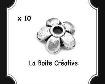 Silver 6 mm 10 beads flower bead caps spacer metal bead CAPS