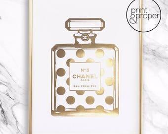 CHANEL No.5 Spot Bottle - 1 x A4 - Real gold foil print