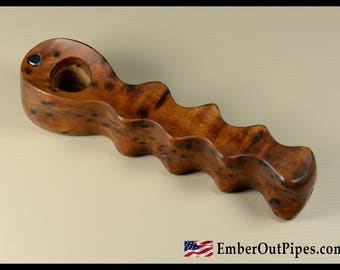 Ember Out Pipes Presents — Thuya Burl Smoking Pipe — Remember To Add Screens To Your Order
