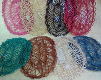 Mat-Doily, Set of 6, Oval, 8x5 inch Approx., Abaca, Choice of  8 colors, Vintage,
