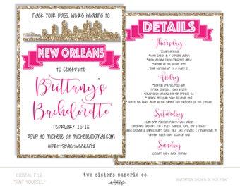 New Orleans Bachelorette Party Glitter Invitation and Itinerary - NEW ORLEANS Bachelorette Party - Printable Invitation - NOLA Bachelorette