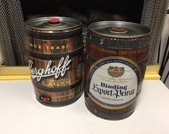 2 - Tin Mini Beer Kegs (Empty) Berghoff & Binding Export Private