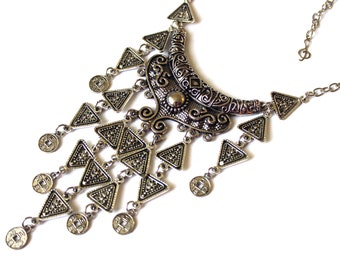 Silver Ethnic Necklace, Antique Silver Necklace, Bohemian Necklace, Tribal Necklace, Gypsy Necklace, Kuchi Banjara Necklace, Afghan Necklace