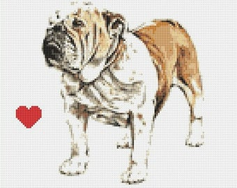 Bulldog Counted Cross Stitch Pattern / Chart,  Instant Digital Download (AP313)