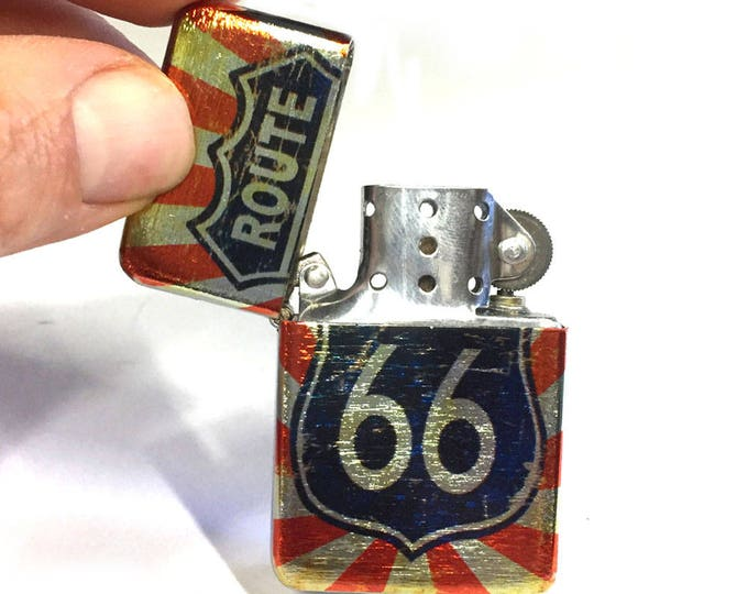Lighter, Route 66, Sublimated Lighter, retro lighter, Cigar Lighter, Flip Lighter, Gift for Him, Groomsmen, Bachelors, Groom, Fathers Day