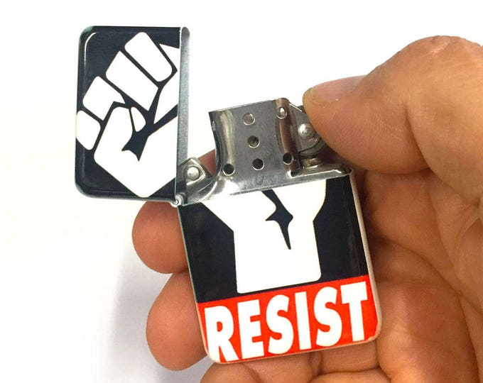 Lighter, Resist, Raised Fist, Sublimated Lighter, retro lighter, Cigar, Flip Lighter, Gift for Him, Groomsmen, Bachelors, Groom, Fathers Day