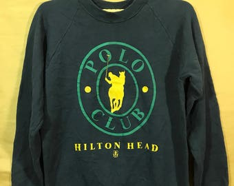 Vintage 80s Hilton Head Polo Club Sweatshirt Unisex Adults Large Size Poly Cotton 50/50