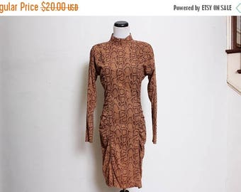 25% OFF VTG 80s and 90s Shakeskin Ruched Brown Bodycon Party Club Dress M/L