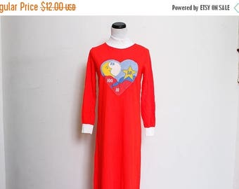 25% OFF Vtg 60s 70s Red Flower Heart Moon Stars Cloud Nightgown S/M