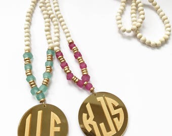 Mirrored Gold Monogram Sea Glass Necklace