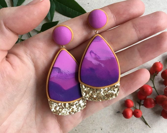 ALURE DROP STUD earrings// Geometric, pink and purple, marble, polymer clay stud earrings with gold glitter trim// Statement earrings
