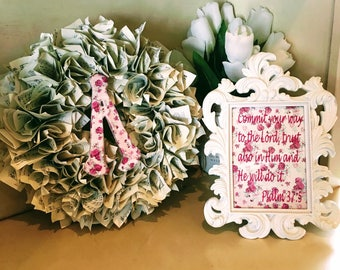 Book Wreath and picture frame combo