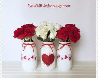 Set of 3 Valentine Mason Jars-Valentines Day Decor-Vase-Valentine Décor-Wedding Centerpieces-Valentines Day Gifts-Red,White Painted Jars