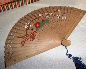 1950s Vintage Ladies Delicate Japanese 2 Sided Painted Bamboo Folding Fan w/ blue tassel w/ box & shipped by 1st Class Mail with tracking