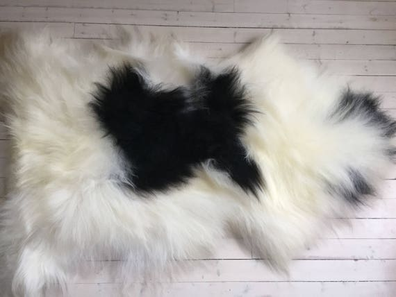 Spotted, long haired, large sheepskin rug spael sheep throw black, white - 17196