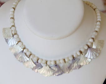 genuine mother of Pearl bib necklace