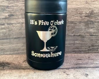 Its 5oclock Somewhere, 12 oz Can Cooler, Drink Cooler, Beer Cooler, Jimmy Buffet Fan Gift, Party Favor, Bachelorette Party, Soda Can Cooler