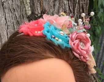 Ivory, Beige, Teal, Aqua, Peach and Coral Ocean Headband, Beach Flower Headband ,Shabby Chic Couture Headband, Little Mermaid Headband, Baby