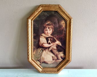 Victorian picture gold frame Grandma Chic style wall art Girl with Dog Creepy Picture