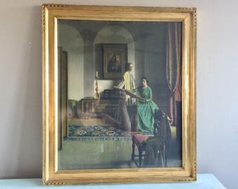"""Large Victorian Framed Lithograph Leonard Campbell Taylor """"The Sampler"""" Gold wooden frame Free Shipping"""