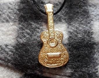 Gold guitar pendant necklace