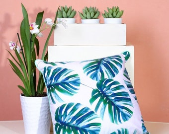 Graphic Tropical Palm Leaf Print Cushion/Pillow with Mint Piping and Grey Back - Bespoke and Unique Designs by Artists
