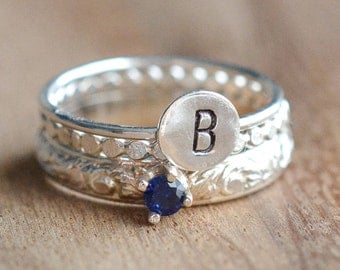 Sterling Silver September Birthstone and Initial Stacking Ring Set - 3mm Sapphire Ring - Set of 3 Birthstone and Letter Stacking Rings