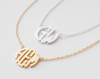 Block Monogram Necklace - Custom Monogram Jewelry - Initials Necklace - Personalized Bridesmaid Jewelry - #PN20
