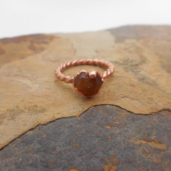 Raw Spessartine Copper Ring - Raw Garnet Copper Electroformed Ring - Mandarin Spessartite Copper Ring
