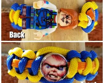 Chucky brick figure paracord bracelet