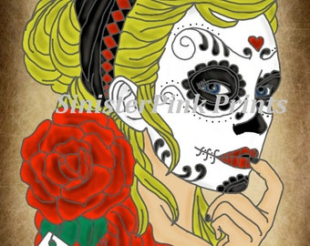 Canvas/Wood - Harley Quinn Day of the Dead Tattoo Flash Print
