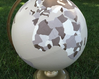 Neutral Tan Decor Hand Painted Globe
