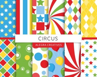 Circus digital paper, carnival, balloons, birthday party, blue, red, green, yellow, scrapbook papers (Instant Download)