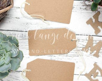Brown Paper Tags styled stock photo, flat lay background for Hand-Lettering