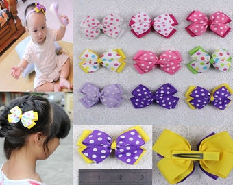 Wholesale Baby Girl dot colorful Grosgrain Ribbon Hair bows with clips 613-10-18