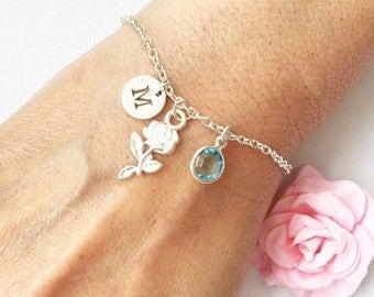 Rose flower bracelet, silver rose bracelet, rose jewellery, rose jewelry, silver rose flower, silver bracelet, rose flower