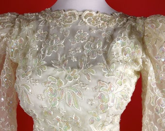 1980's Alyce Designs White with Rhinestones and Tulle