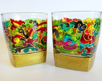 Floral Wine glasses, Raibow wine glasses, Painted wine glasses, Handmade painting, Flower glasses, glass of wine, hand painted glassware