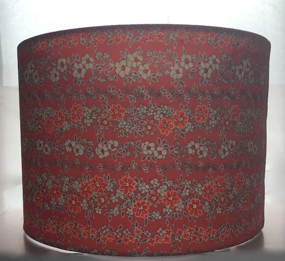 Red Floral Silk Lampshade 30cm diameter (12 inches) Made Using Vintage Kimono Silk